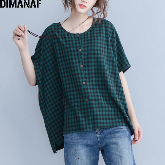 DIMANAF Plus Size Women Blouse Shirts Summer Lady Tops Tunic Linen Big Size Loose Casual Female Clothes Batwing Plaid 2019 6XL