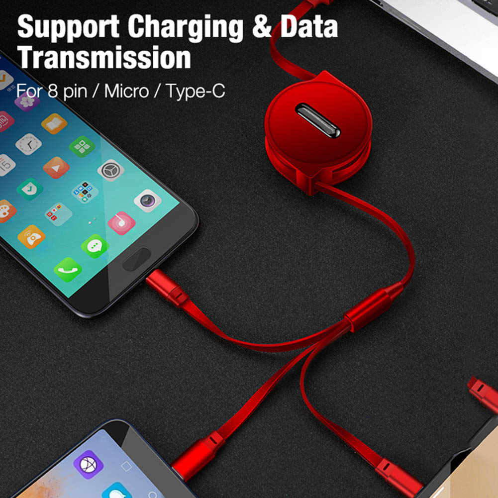 New Multi USB Charger Cable 3 in 1 Multiple Charging Cord Adapter with Mini Type C Micro USB Port  DOM668