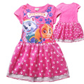 Baby girl summer short sleeve dress 2016 fashion cartoon dog children  princess dress for girls cotton dress