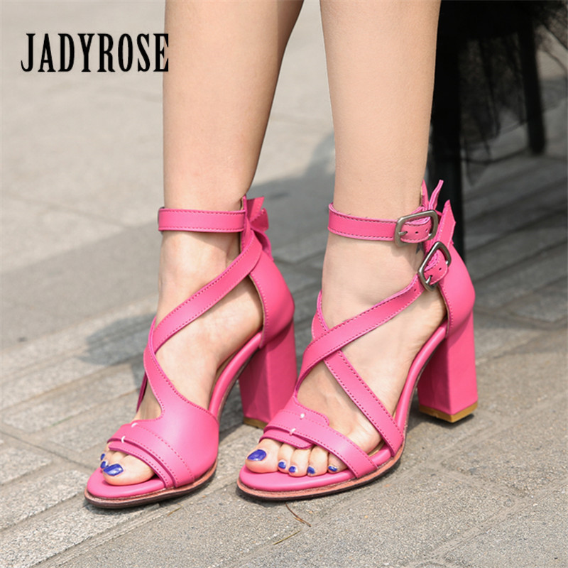 Jady Rose Cute Pink Gladiator Sandals Cross Strap Summer Sandal Chunky High Heel Shoes Woman Handmade