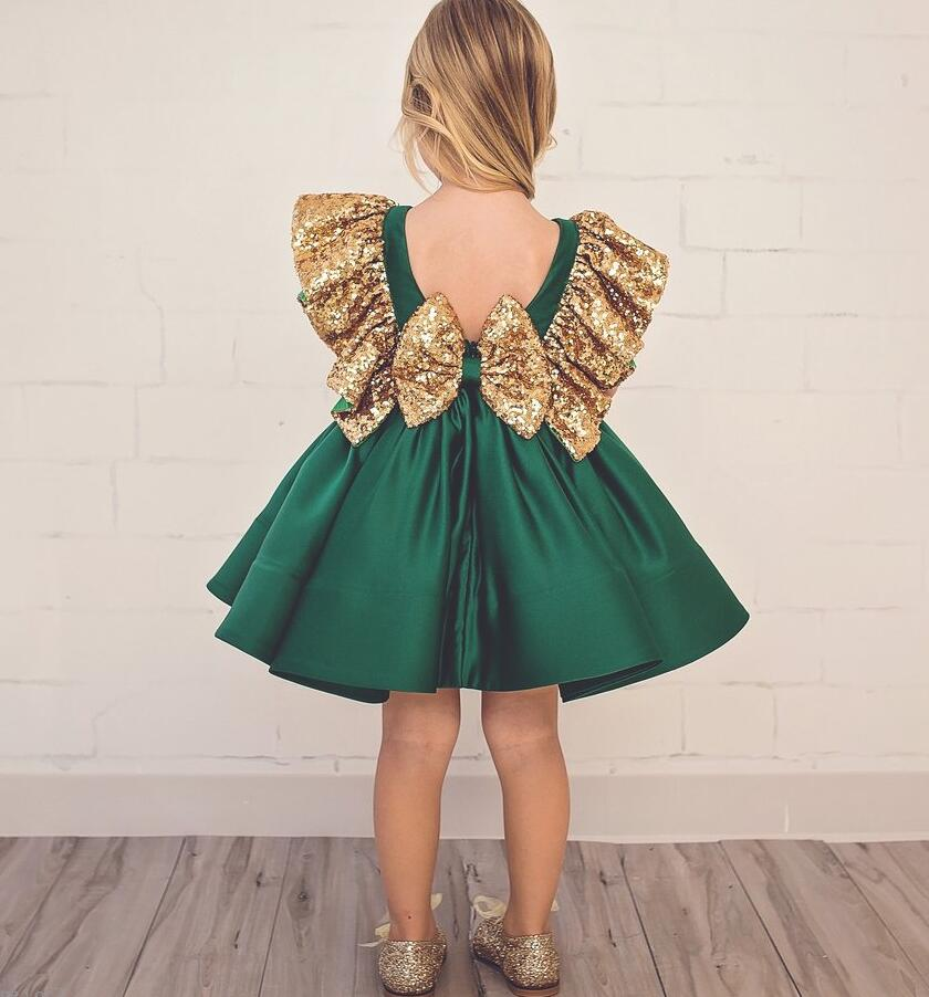 Vintage Emerald green backless flower girl dress with golden sequins knee-length short baby 1 year birthday gowns with big bow vintage emerald green backless flower girl dress with golden sequins knee length short baby 1 year birthday gowns with big bow