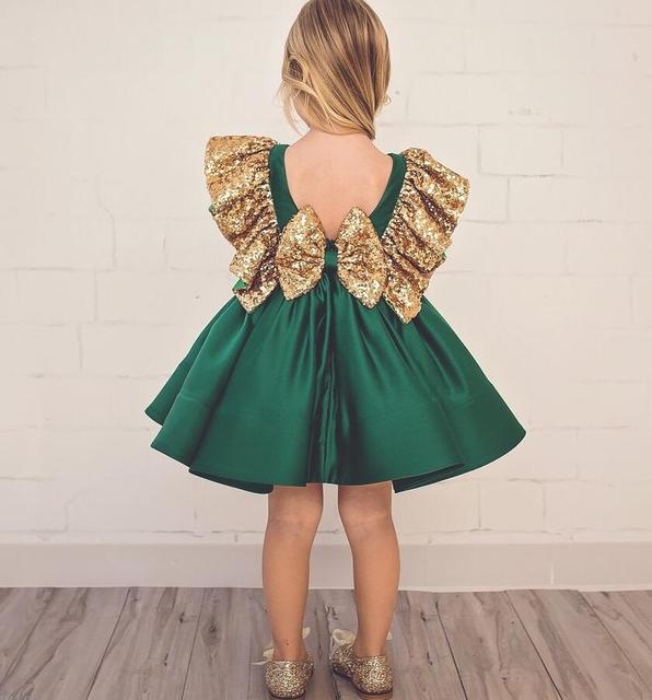 Vintage Emerald Green Backless Flower Dress With Golden Sequins Knee Length Short Baby 1