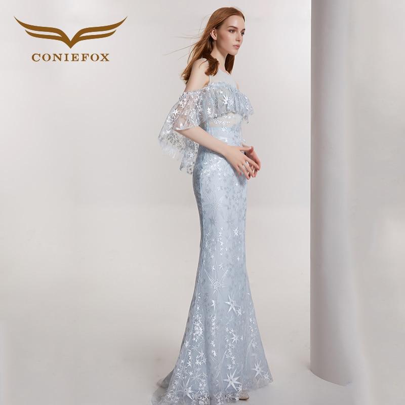 23498cc4033 CONIEFOX 32129 Pailletten mermaid Backless reizvolle Damen Retro eleganz  Appliques prom kleider party abendkleid kleid lang blau in CONIEFOX 32129  ...