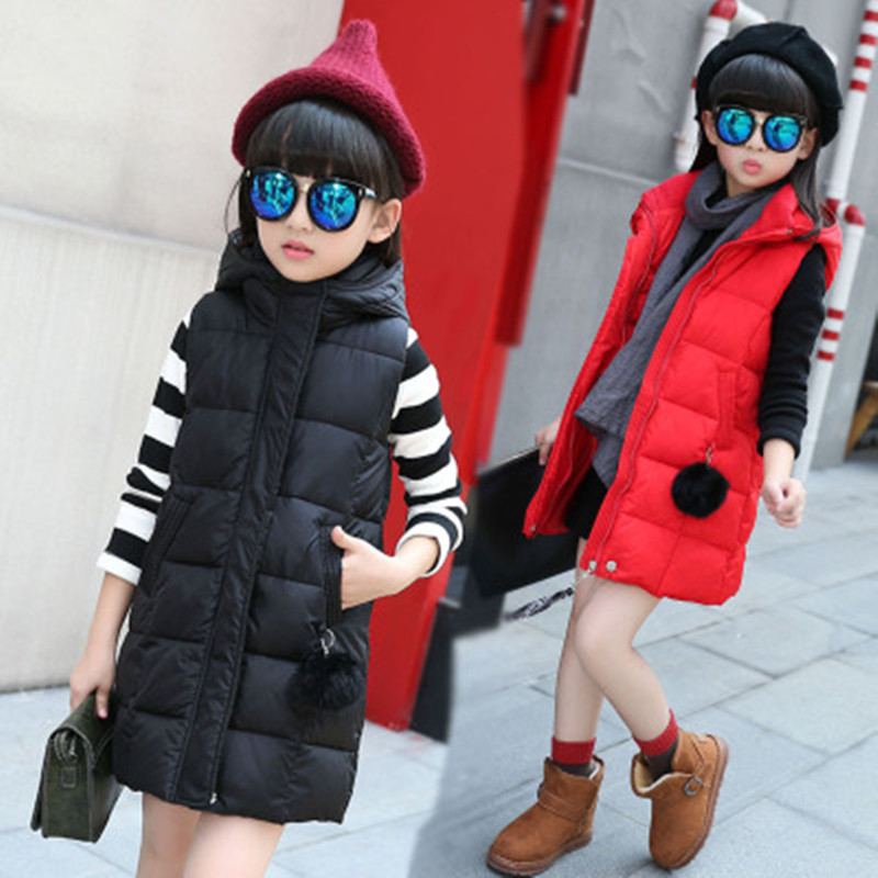 Girl Coat Children Outerwear Long Child Winter Clothes Warm Hooded Vest Kids Vests For Girls Waistcoats Outerwear Coats