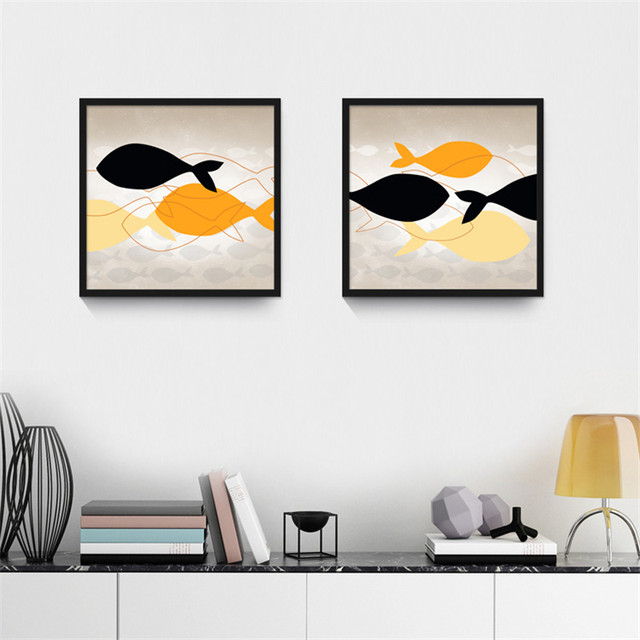 Cute Blue Orange Yellow Fish Canvas Wall Art Poster Mediterranean Style Painting Picture Ornaments For Livingroom Shop
