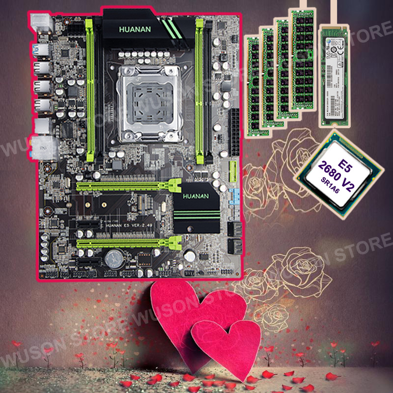 HUANAN ZHI motherboard with M.2 256G SSD discount X79 motherboard with CPU Xeon E5 2680 V2 SR1A6 2.8GHz RAM 4*8G DDR3 1600 RECC good pc hardware huanan zhi x79 motherboard with m 2 128g ssd discount motherboard with cpu xeon e5 2680 v2 ram 64g 4 16g recc