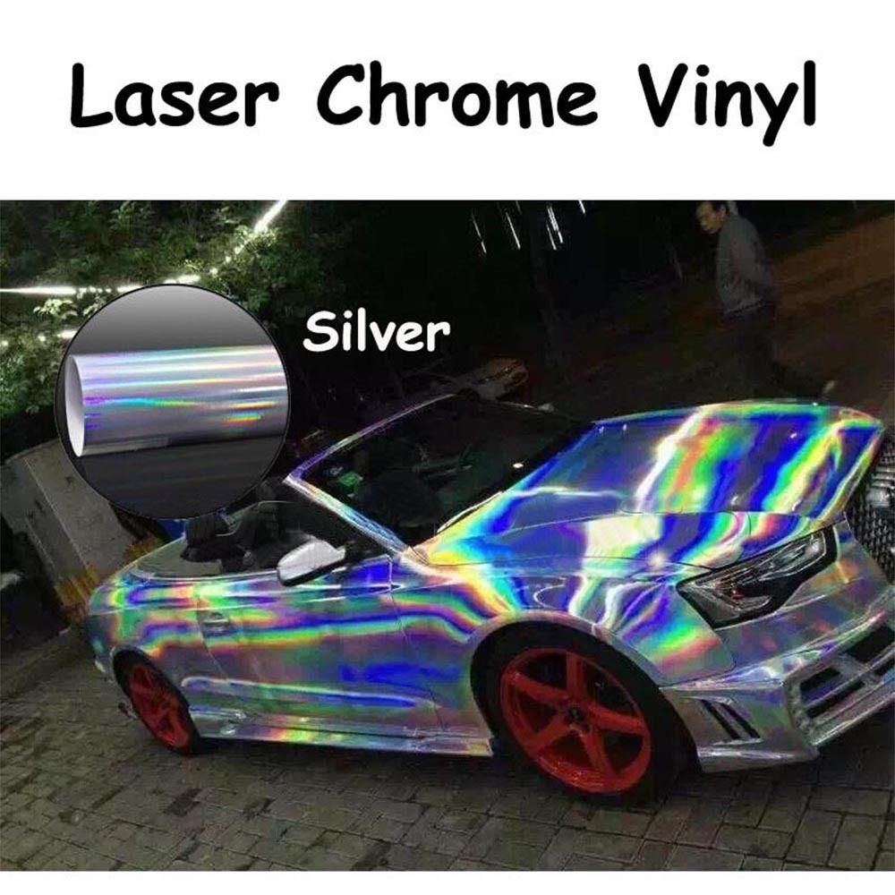 Argent holographique Laser Chrome irisé vinyle Wrap voiture Film Air bulle libre 1.49x1 m