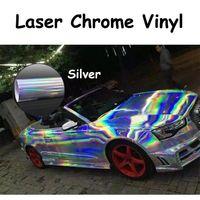 Silver Holographic Laser Chrome Iridescent Vinyl Wrap Car Film Air Bubble Free 1.49 x 1m