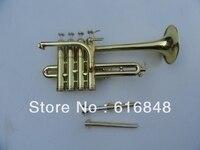 전문 악기 Bb 피콜로 트럼펫 4 피스톤 높은 품질의 모넬 피스톤 황동 골드 도금 표면