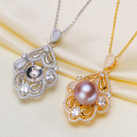 3pcs/lot DIY Jewellery 925 Silver Pearl Pendant Exquisite Necklace Pendant Setting Findings Parts Fittings Women Accessories