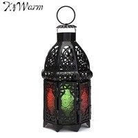 KiWarm Vintage Moroccan Sryle Six Sides Glass Metal Garden Candle Holder Hanging Lantern Crafts Home Wedding