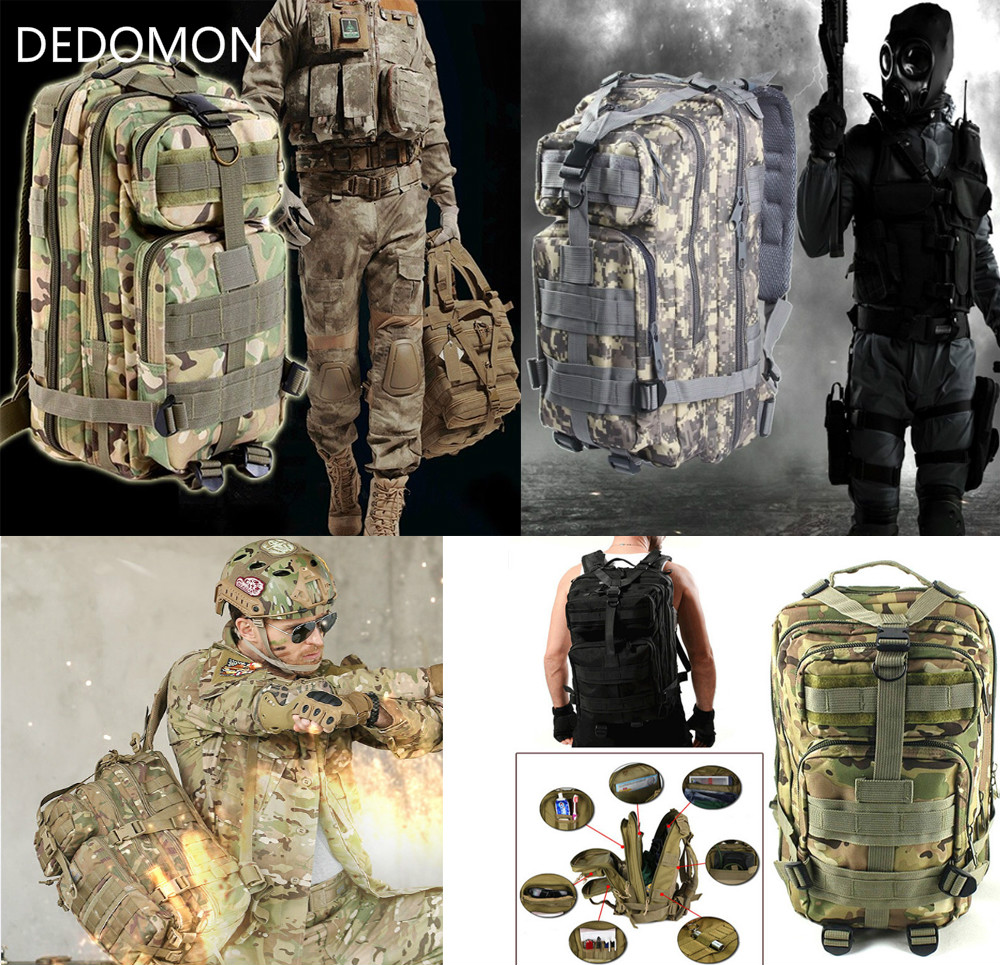 цена 2017 3P Outdoor Military Tactical Backpack 30L Molle Bag Army Sport Travel Rucksack Camping Hiking Trekking Camouflage Bag
