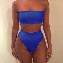2019 High Waist Swimsuit  Sexy Bikini Women Brazilian Pad Swimwear Push Up Bandeau Top Plus Size Bottom Bikini Set Bathing Suits