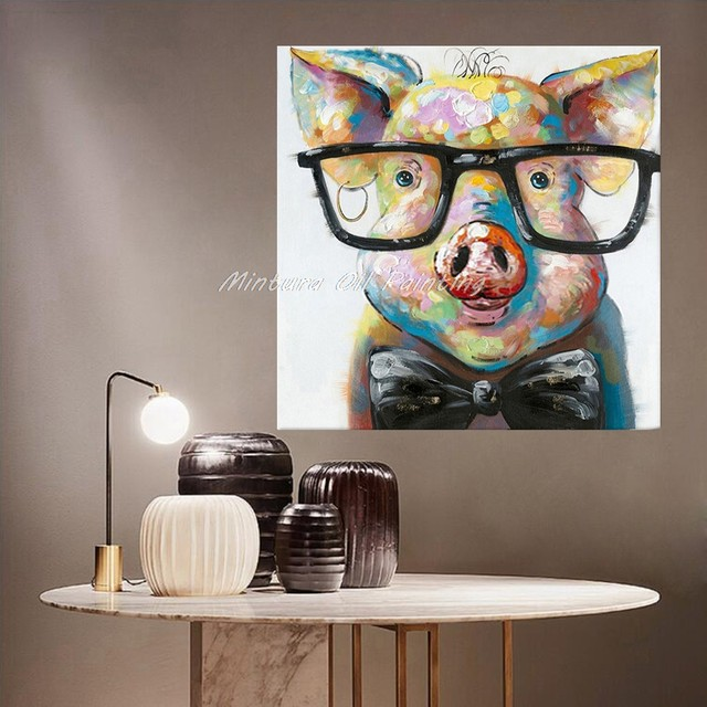 dcbfa09607ae Item Description Mintura Hand Painted Acrylic Canvas Oil Paintings Colorful  Frog with Big Glasses Funny Modern Abstract Animal Wall Art Kid s Room  Decor.