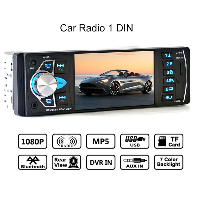 4.1 Car Radio 1 Din Mp5 Player Bluetooth Stereo Audio Fm Transmitter Car Video with Remote Control Support Rear view Camera new 7 inch 2din bluetooth car radio video mp5 player auto radio fm 18 channel hd 1080p in dash remote control rear view camera