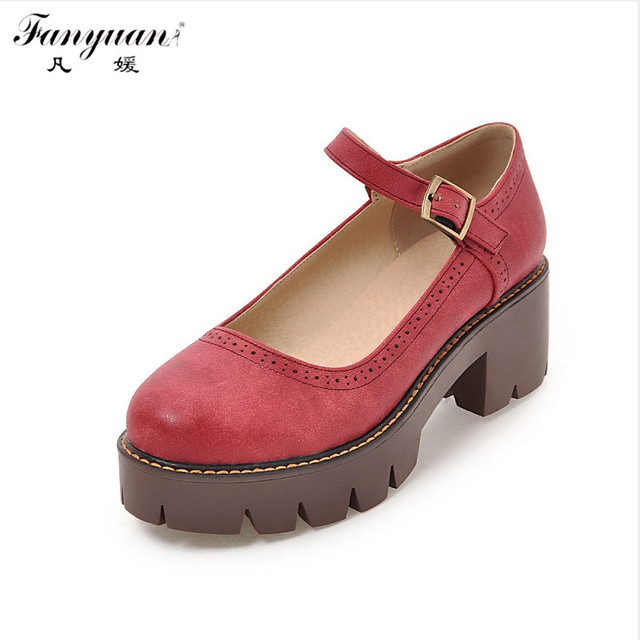 New 2017 Fashion Design Women Sweet Lolita Shoes Student Style Thick Heel Pumps Ankle Strap Vintage Round Toe Spring Shoes