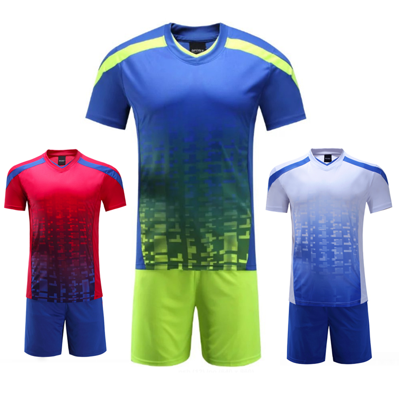 Men Soccer jersey survetement football Maillot de foot Breathable Training set Sports Kits kids DIY Short Suits 66007