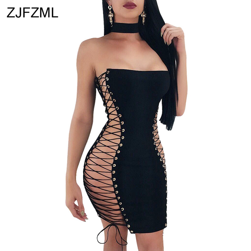 Womens Lace Up Eyelet Holes Ladies Full Sleeve Side Split Lace Up Bodycon Dress