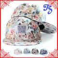 PREMIER de Etiquetas Tecidas Mulheres Coreanas verão Hip Hop Cap Hat Floral Impresso Snapback Cap Boné De Beisebol Dos Homens de Dança de Rua