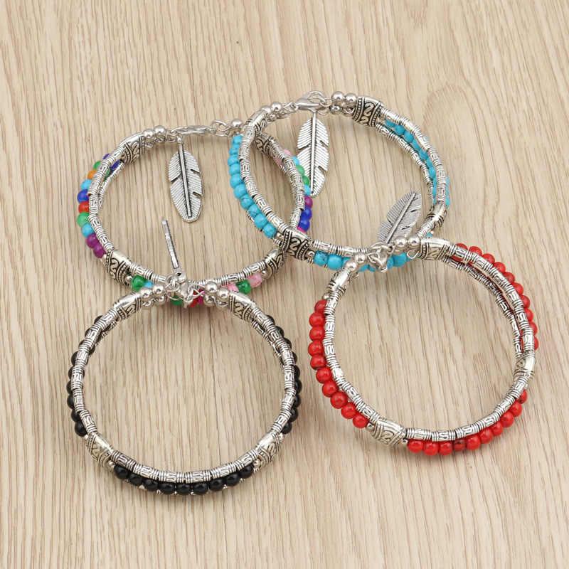 Tenande w stylu Vintage Maxi czeski kamień naturalny koraliki liście bransoletki i Bangles dla kobiet tybet srebrny kolor Night Club biżuteria