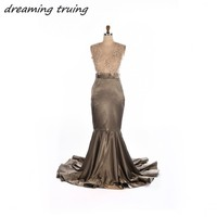 Glamorous African Black Girl Evening Dresses V Neck Mermaid Sexy See Thourgh Back Appliques Lace Formal