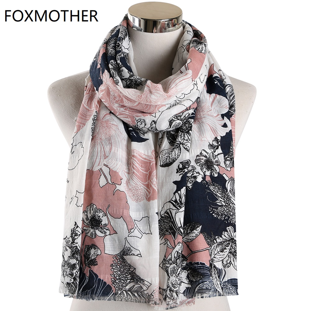 Scarf For Women Vintage Floral Scarves Muslim Hijab Shawl Pashmina Flower Wraps Foulard Femme Scarves 2019 Fashion Scarfs
