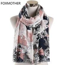Scarf for Women Vintage Floral Scarves Muslim Hijab Shawl Pashmina Flower Wraps Foulard Femme 2019 Fashion Scarfs