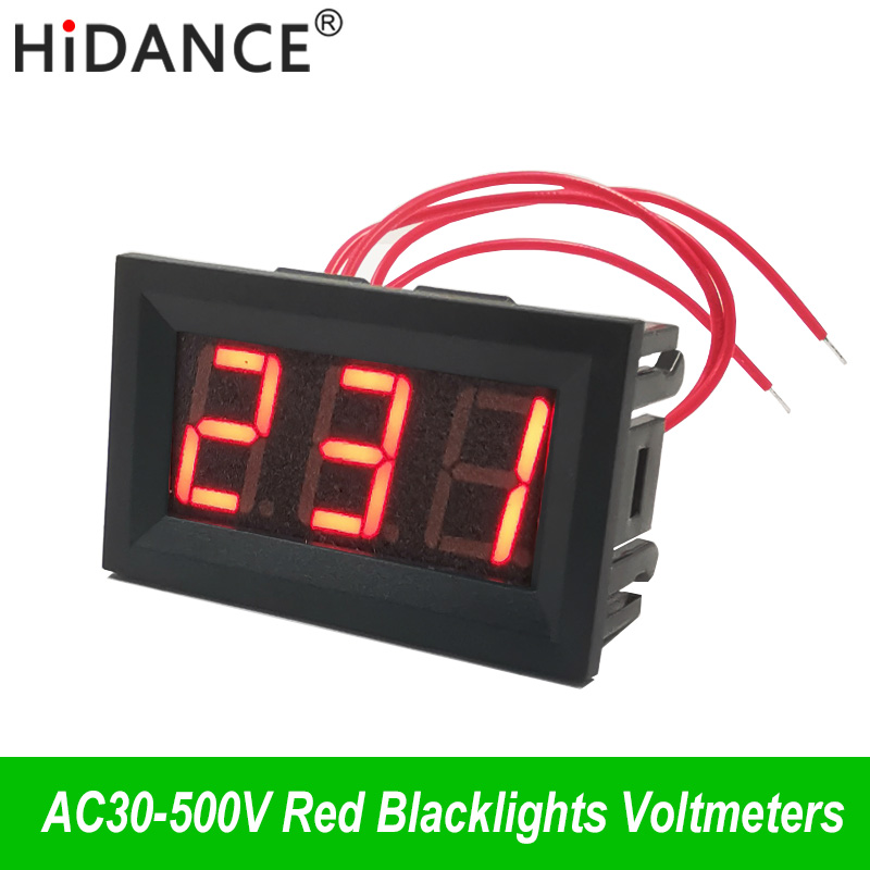 """Kintamos srovės 30 V ~ 500 V įtampos skaitmeninis voltmetro matuoklis dviejų laidų 0,56 """"110 V / 220 V maitinimo šaltinis elektrinis Voltimetro detektoriaus testerio indikatorius"""