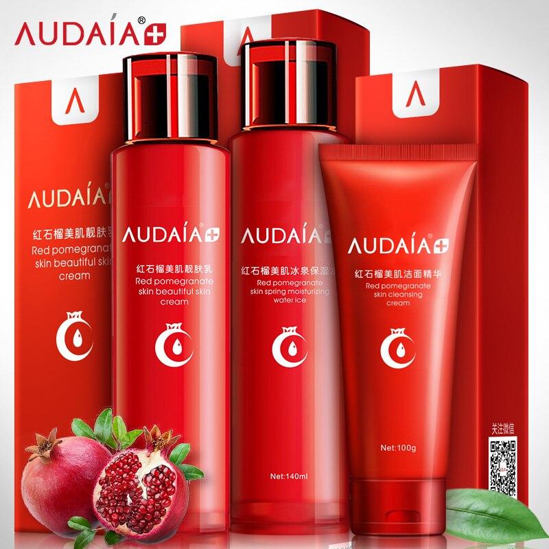Red pomegranate face care set with 3pcs cleanser toner emulsion cream Whitening moisturizing anti-wrinkle