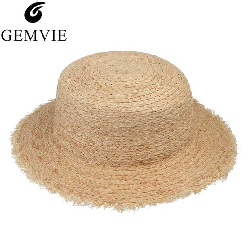7d6606166f2 GEMVIE Simple Fashion Straw Hats Women Flat Top Fluffy Wide Brim Straw  Woven Sun Hat Ladies