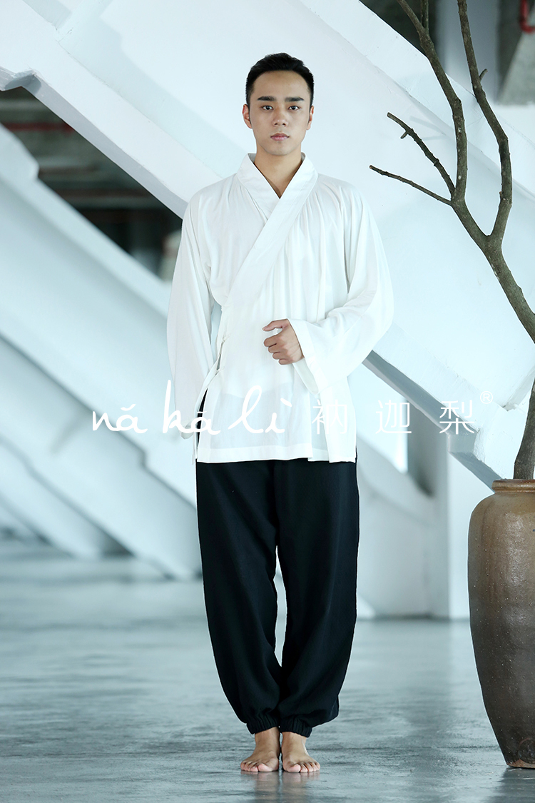 Nakali chinese traditional style mens women 39 s suit white for White shirt black pants