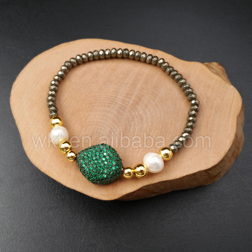 WT MB021 Wholesale Custom Unique Cubic Zircon Pave Solid Pendant Bracelet With Adjustable Size Pyrite Beads