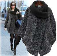 2017 Plus Size New Fashion Coat For Women Solid Black Gray Woolen Coat Long Outerwear Winter Jacket Overcoat Women Coat