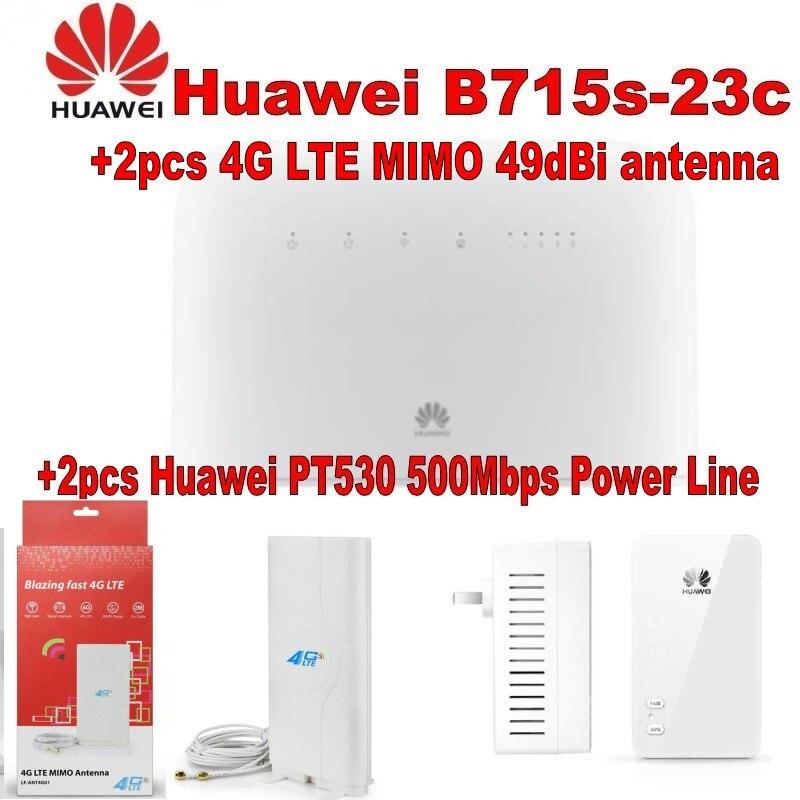 4G, 4G + LTE, 3G HUAWEI B715 routeur débloqué + 2 pièces Huawei PT530 500 Mbps Ligne Électrique + 2 pièces 4G LTE MIMO 49dBi d'antenne SMA