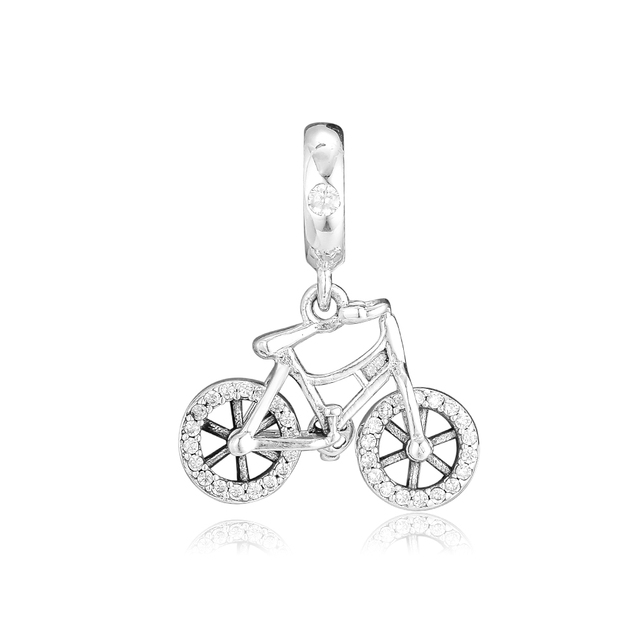 FANDOLA Beads Brilliant Bicycle Hanging Charms 925 Sterling Silver Fit Charm Bracelets Beads for Jewelry Making kralen perles