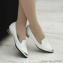ปั๊มผู้หญิงรองเท้าหนังPUใหม่33 40 41 42ส้นสูง3เซนติเมตร32-43