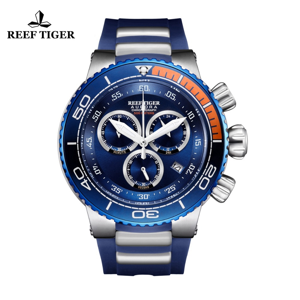 Reef Tiger/RT Luxury Blue Sport Watches Mens Water Resistant Stainless Steel Fashion Military Watches Relogio Masculino RGA3168