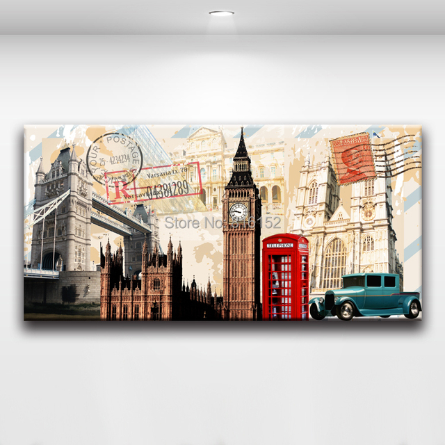 Retro and Nostalgic Postcard with Postage Stamp Canvas Painting Wall ...