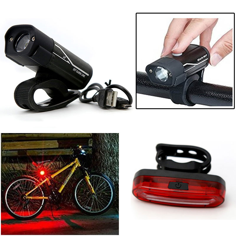 YZtree USB Rechargeable Bicycle Flashlight Torch 5 Mode LED Front Light lamp Holder Clip Warn Rear light Cycling Flashlight Kit