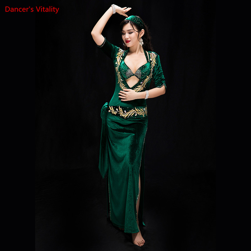 Women Performance Belly Dancing Show In Costume Bra+Underpants+robe+Headdress+belt 5PCS Velvet Dance Cothing Belly Dance Dress