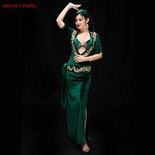 Women Performance Belly Dancing Show in Costume Bra+Underpants+robe+Headdress+belt 5PCS velvet Dance Cothing Belly dance Dress