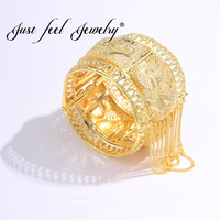 JUST FEEL Brass India Gold Color Bangle For Women Dubai Bride Luxury Cuff Bracelet African India Ethiopian Wedding Party Jewelry
