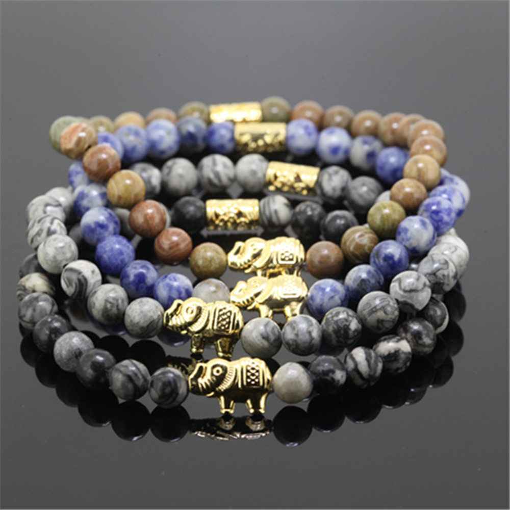 10pcs Charms Multi Colors Gold Color Elephant Natural 6mm Variegation  Sodalite Onyx Stone Beads Bracelet For