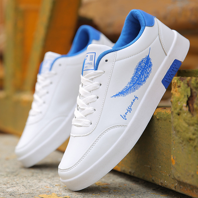 BORRUICE Men Shoes Spring Autumn Casual Leather Flat Shoes Lace-up Low Top White Male Sneakers tenis masculino adulto Shoes