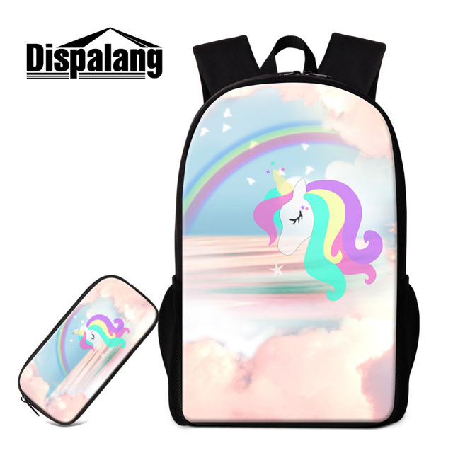 2PCS Set Kids Backpack Pencil Case For Primary Students Unicorn Cartoon School  Bags For Teenagers Book Bag Casual Rucksack 56f4bae26e6bd