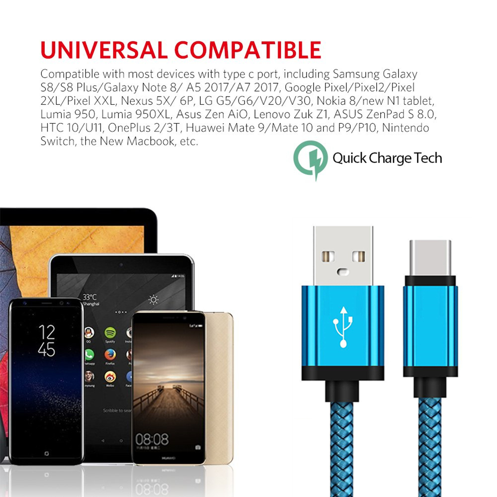 USB C Fast Charging Cable For Huawei P20 pro Mate 20 lite pro P20 lite nova 3 3i 4e Honor V20 10 SAMSUNG Galaxy S10 S9 S8 Type C in Mobile Phone Cables from Cellphones Telecommunications
