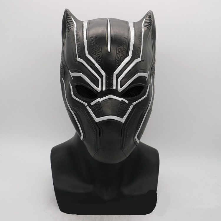 Máscaras de látex de Pantera Negra casco Capitán América guerra Civil Roles máscara de Cosplay Halloween Utilería de fiesta de adultos realista en Stock