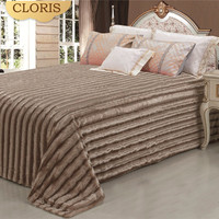 CLORIS Moscow Comforter Luxury Bedspread 220x240cm High Quality Royal Plaid Artificial Fur Warm Bedspread On Bed Sofa Blanket