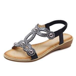 Image 2 - BEYARNE sandalias para mujer con cuentas de flores y diamantes de imitación, zapatos de verano, calzado de verano, estilo europeo, diamantes de imitación, talla grande