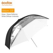 """Godox paraguas reflectante y translúcido, 33 """", 84cm, doble capa, blanco y negro, para iluminación estroboscópico de Flash de estudio"""